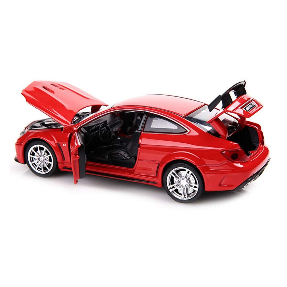Poooc Toy Simulation Car Cute Alloy Sound Light Pull Back Vehicle Model Kids Gift Toys Girls Easter boy Gift Holiday Birthday Gifts Sound & Light & Pull Back Model Toy Car New in Box - Red