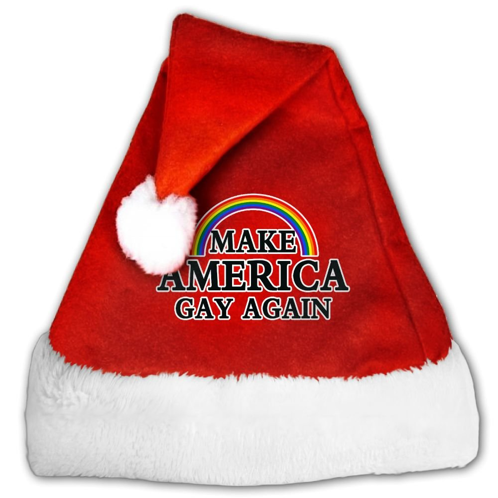 Make America Gay Again Rainbow Christmas Hat Velvet Santa Claus Hat S Size For Kid,M Size For Adult