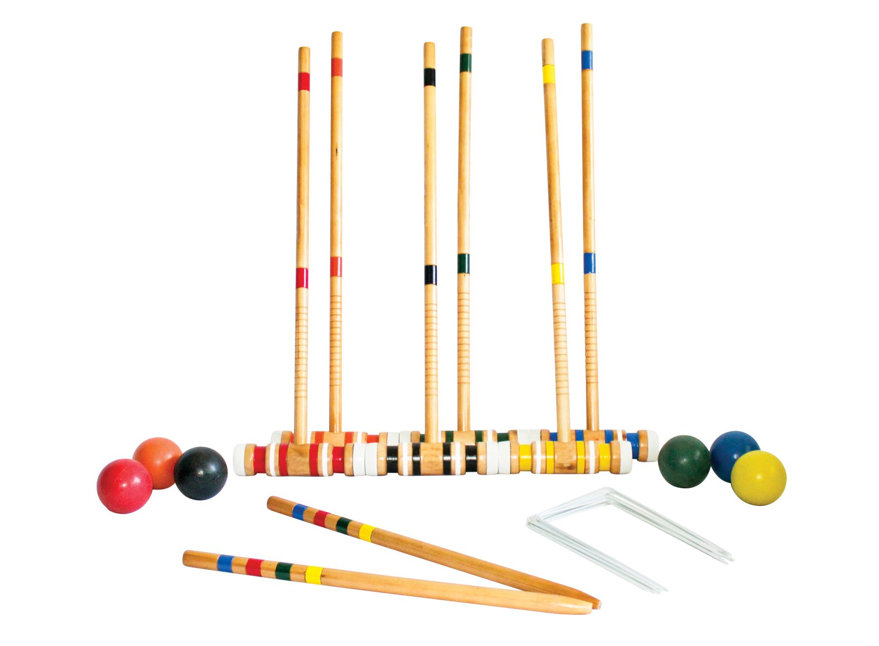 Triumph 6-Player Beginner Backyard Croquet Set Includes 6 Wood Mallets, 6 Balls, and Carry Bag by Triumph Sports