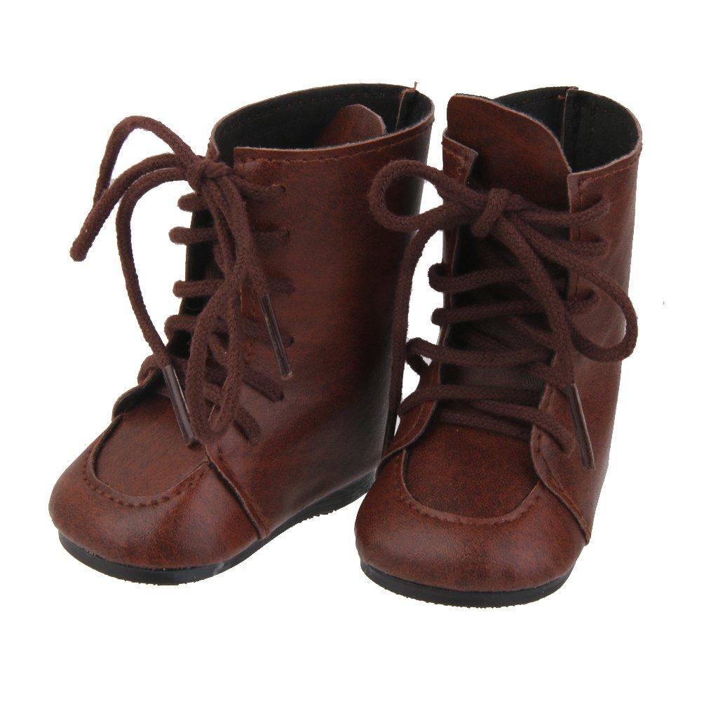 1 Par Zapatos Botas Miniatura para Muñecas American Girl Marrón Genérico