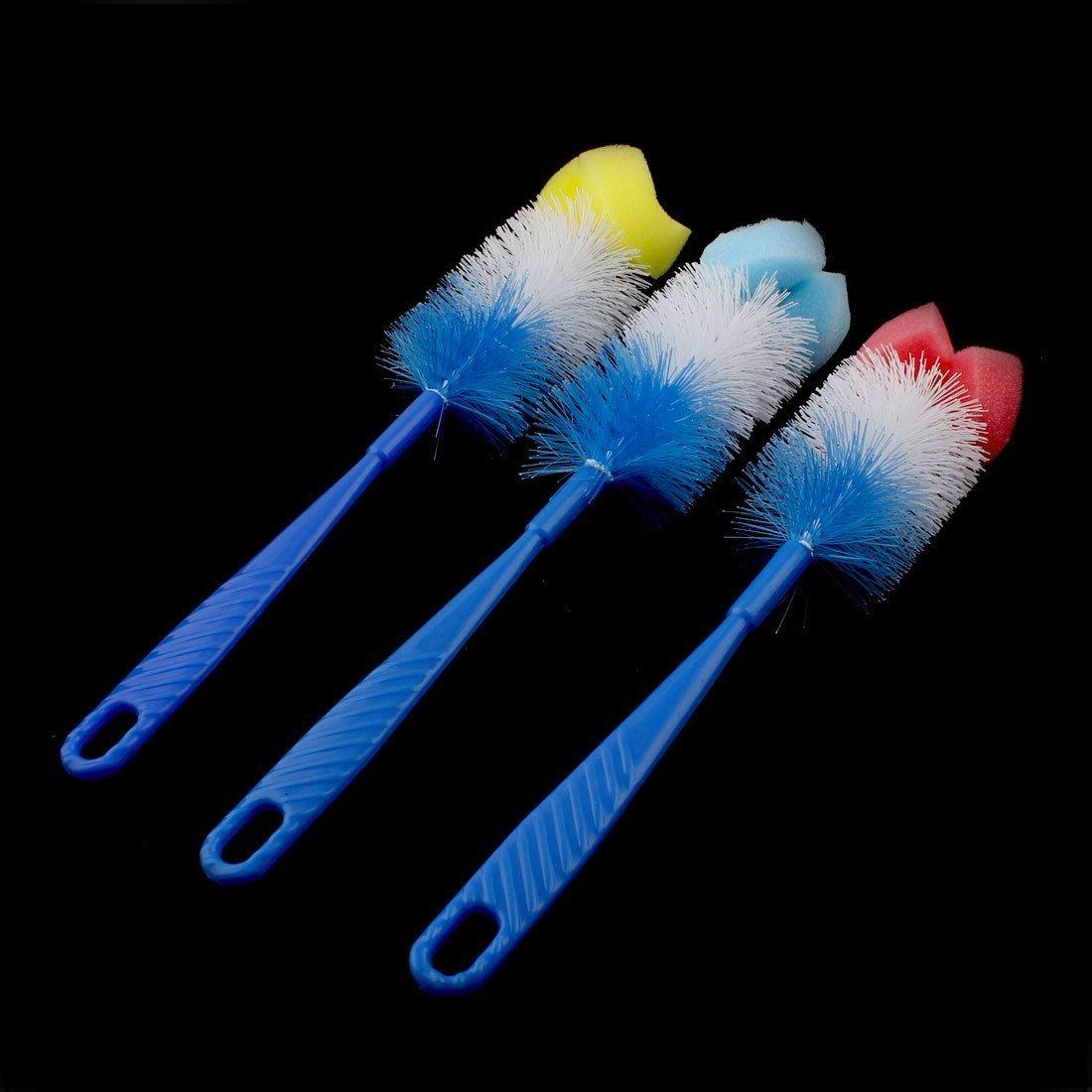 Amazon.com: eDealMax mango de plástico Esponja Top limpieza para la casa taza de la botella de cepillo de lavado 3 en 1: Kitchen & Dining