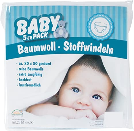 5 Pack pañales de tela color blanco 100% algodón Mull de spuck paños 80 x 80 cm Baby: Amazon.es: Bebé