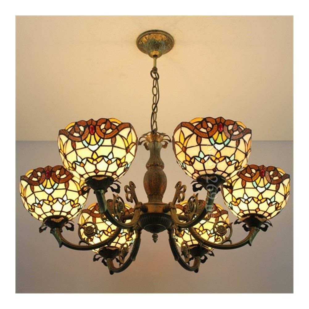 Soft Lighting Handmade Drop-Light for Home Decoration, Six Heads Stained Glass Parlor Pendant Chandelier Handmade