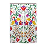 XiangHeFu Shower Curtain with Hooks 48 x 72 Inch Mexican Peacock And Flowers (Waterproof and Mildew Resistant 100%) for Woman Man Bathroom Home Decor