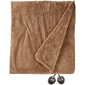 King Size Microplush Electric Heated Blanket with dual controllers, Cream high-quality