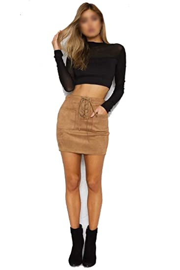 c22edb0c4e7c Women Leather Suede Lace Up Bandage High Waist Party Pencil Short Mini Skirt  Ladies Womens Brief Solid Daily Skirts at Amazon Women's Clothing store: