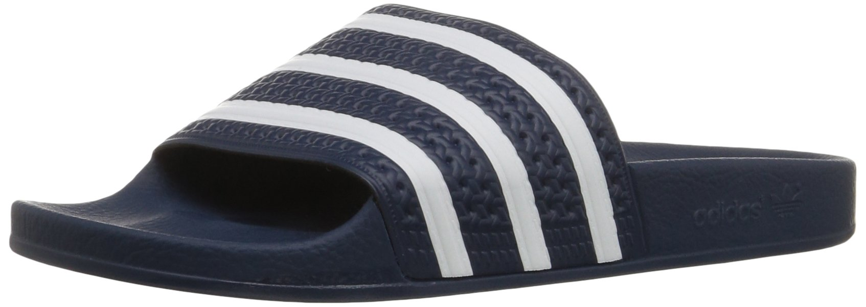 adidas Originals Men's Adilette Slide Sandals, White/Adidas Blue, ((9 M US) by adidas Originals