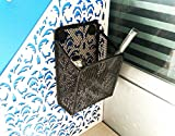 Frjjthchy Strong Magnetic Pencil Holder Square Metal Mesh Storage Basket (Black)