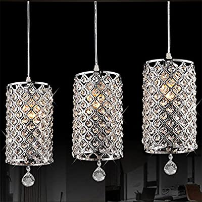 Modern Crystal Ceiling Light, Drops Pendant Ceiling Lighting with Chain Chandelier Lamp Hanging Light for Hallway, Bar, Kitchen, Dining Room, Kids Room(7 x 13.7inch)
