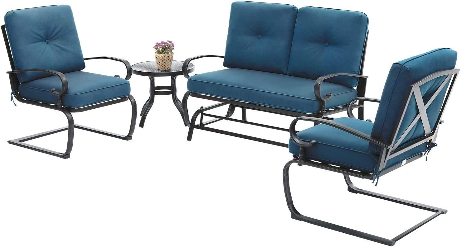 Betterland Outdoor Furniture 4Pcs Patio Conversation Sets (Glider, Bistro Table, 2 Spring Chairs) Swing Glider Wrought Iron Frame Patio Metal Lounge Chairs Set with Peacock Blue Cushions