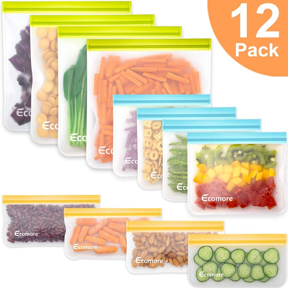 Reusable Storage Bags - 12 Pack BPA FREE Freezer Bags(4 Reusable Gallon Bags + 4 Leakproof Reusable Sandwich Bags + 4 THICK Reusable Snack Bags) Ziplock Lunch Bags for Food Marinate Meat Fruit Cereal