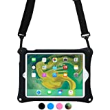 Apple iPad 6 case, iPad 5 case, iPad Air 1 case with Stand, Shoulder Strap, Hand Strap | COOPER BOUNCE STRAP Shock Proof Silicon iPad 9.7 cases | Easy to Clean, Multi-Functional, Kid Friendly (Black)