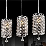 Kitchen Bar Hanging Lights Modern Crystal Ceiling Light, Drops Pendant Ceiling Lighting with Chain Chandelier Lamp Hanging Light for Hallway, Bar, Kitchen, Dining Room, Kids Room(7 x 13.7inch) (Clear)