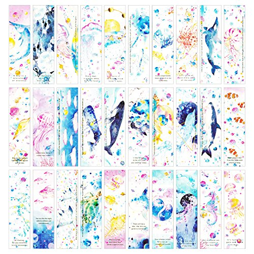 Ocean Sea Animal Theme Colorful Bookmark for Kids Teens Boys Girls Women, 30 PCS (Sea Stars)