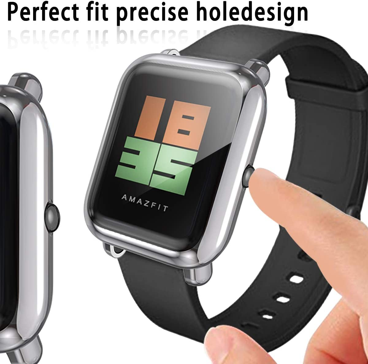 2 Pack Ultra-Thin Soft TPU All Around Full Protective Protector Case for Xiaomi Huami Amazfit Bip Smartwatch Accessories Haojavo Compatible with Amazfit Bip Smartwatch Screen Protector Case