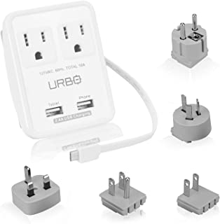 Urbo Travel Adapter with Detachable Design and 3 USB-A Ports and 1 USB-C Port + Retractable Prongs for Power Sockets in More Than 100 Countries Across Europe, Asia, Americas, Africa, Oceania
