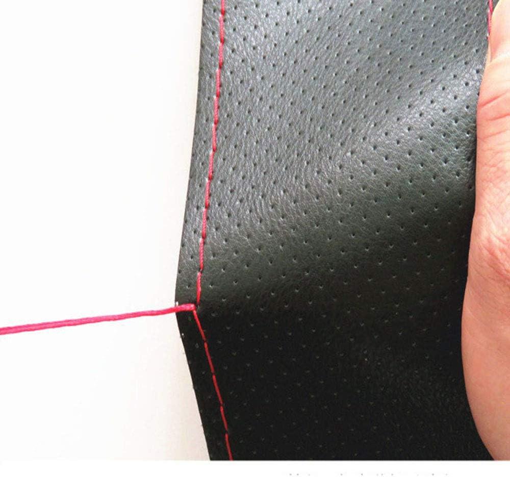 Sunwan Housse de volant universelle en cuir souple 38 cm Noir avec protection de volant rouge