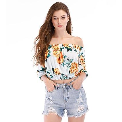 LILICAT® Camisetas de cuello Slash para mujer, Blusa Casual Casual Lady Cold Hombro Floral