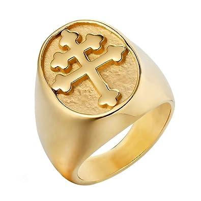 3a5f88711ed1 BOBIJOO Jewelry - Anillo Anillo Anillo de Hombre de la Cruz de Lorena  Patriarcal Acero Inoxidable Chapado en Oro  Amazon.es  Joyería