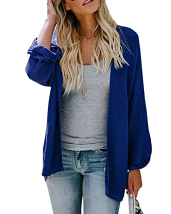 436631b7ac Umeko Womens Cardigans Casual Knit Open Front Lightweight Long Boyfriend Cardigan  Sweaters at Amazon Women s Clothing store