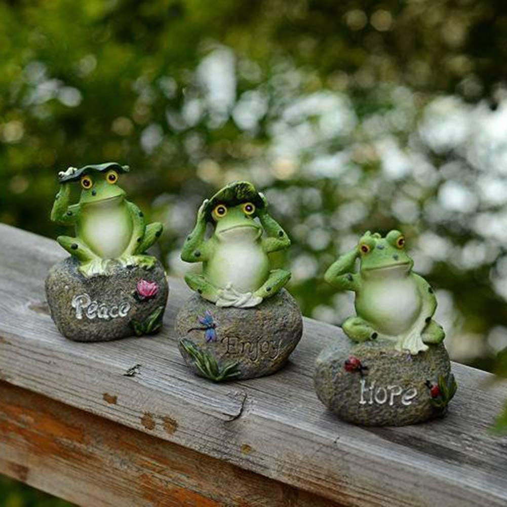 Okngr Frog Garden Statues, 3 Pcs Outdoor Toad Statue Garden Statue Lawn Ornaments for Outdoor Patio Yard Decor