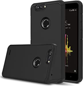 Venoro Shockproof Slim Anti Scratch Hybrid Dual Layer Armor Defender Protective Phone Case Cover Compatible with ZTE Z982/ZTE Blade Z Max/ZTE ZMax Pro 2/ZTE Sequoia (Black)
