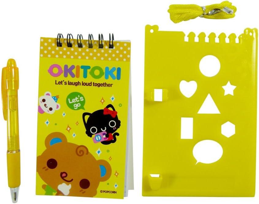 Yellow Kawaii Stationery Set Okitoki Mini Notebook with pen on Clipboard