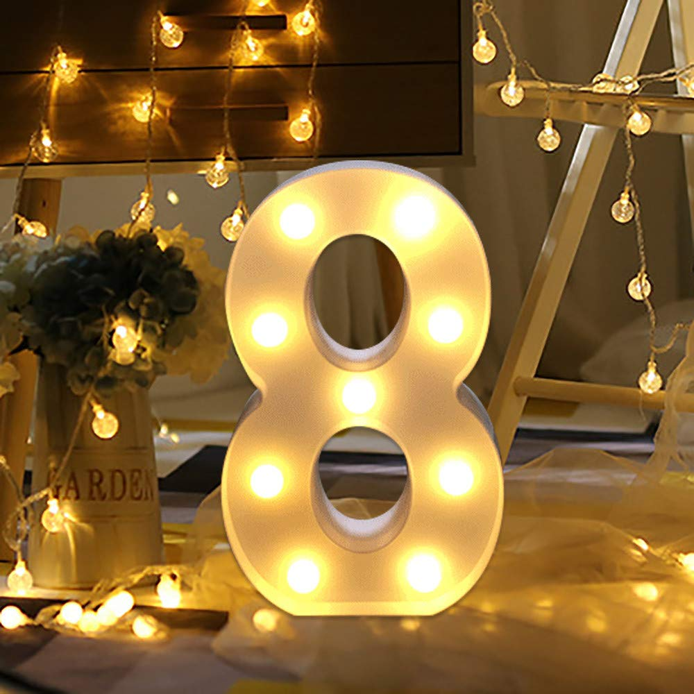 Initials Captial LED L with Remote Control Numbers LED Standing Battery Operated for Birthday Anniversary Party Home Room Garden WATOPI Warm Bright Alphabet Letters Digital Sign Lights