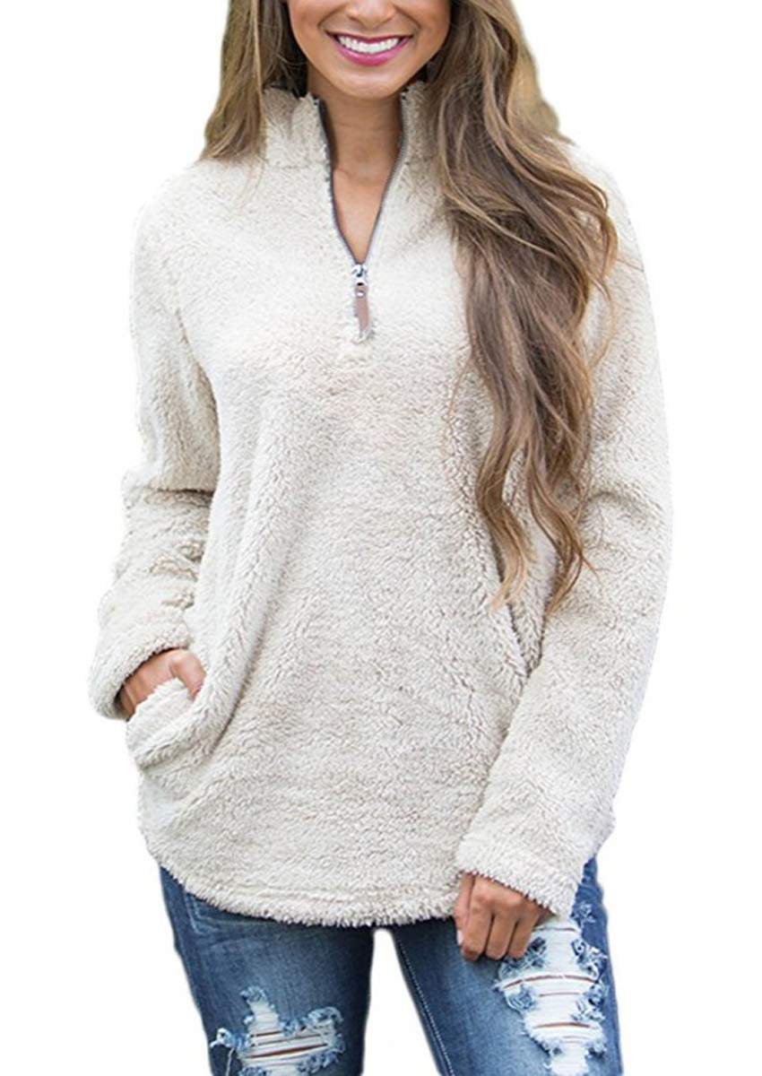 FOURSTEEDS Womens Casual Faux Fleece High Neck Long Sleeve Outwear Winter Coat with Pockets M