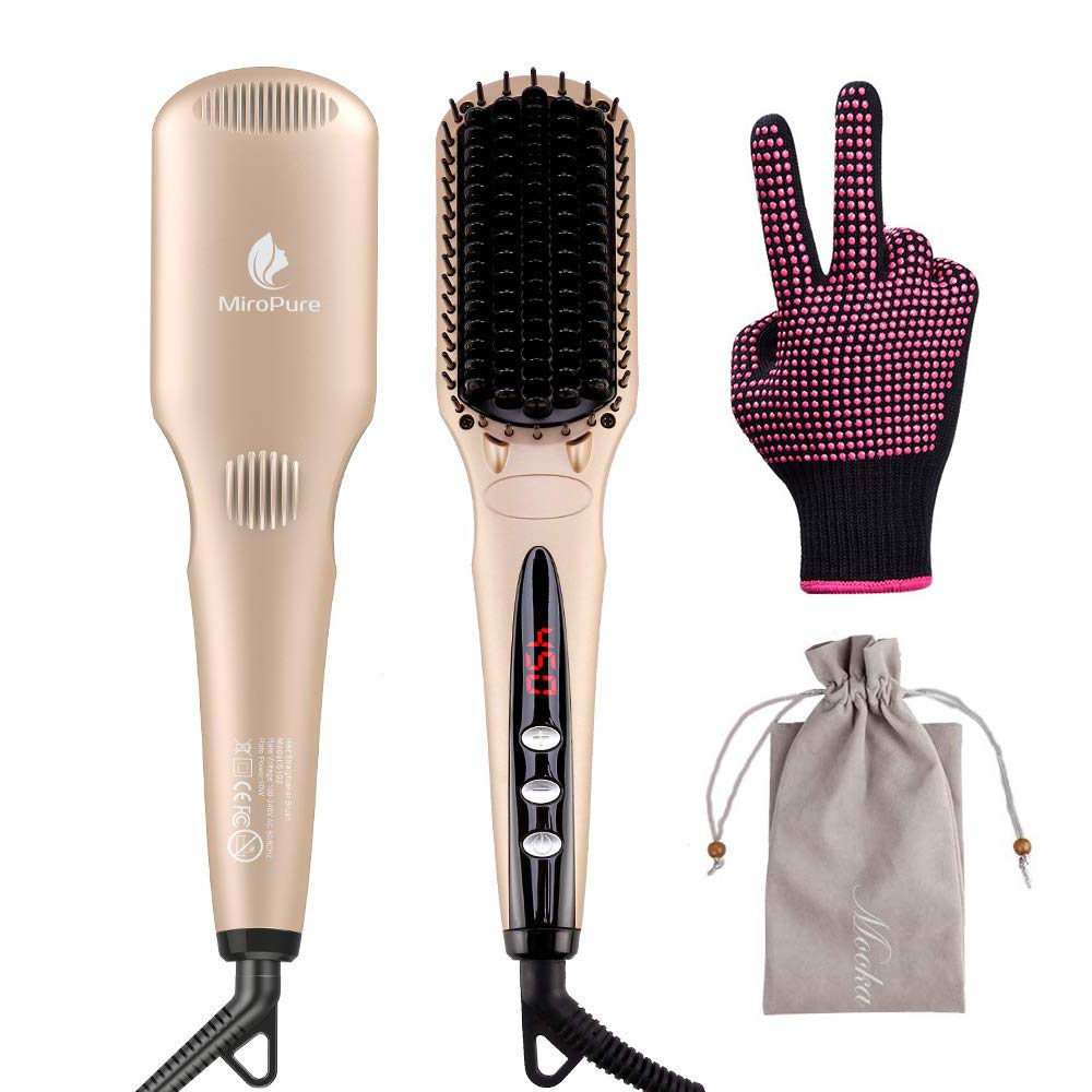 MiroPure Ionic Hair Straightener Brush for Silky Frizz-free Hair with MCH Heating Technology for Great Styling at Home by MiroPure