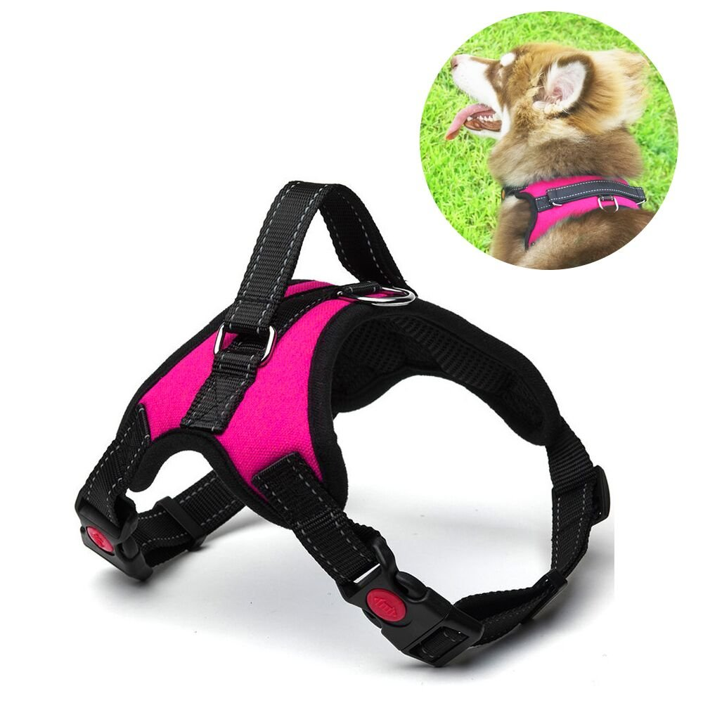 Menyda No Pull Dog Harness Vest Adjustable Reflective Dog Harness With Handle(L-Pink)