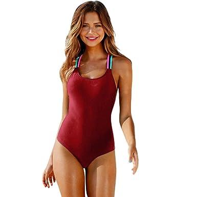 Sexy Espalda Baño De Pieza Bikini Mujer Traje Una Color Lhwy Sólida O8P0kNnwX