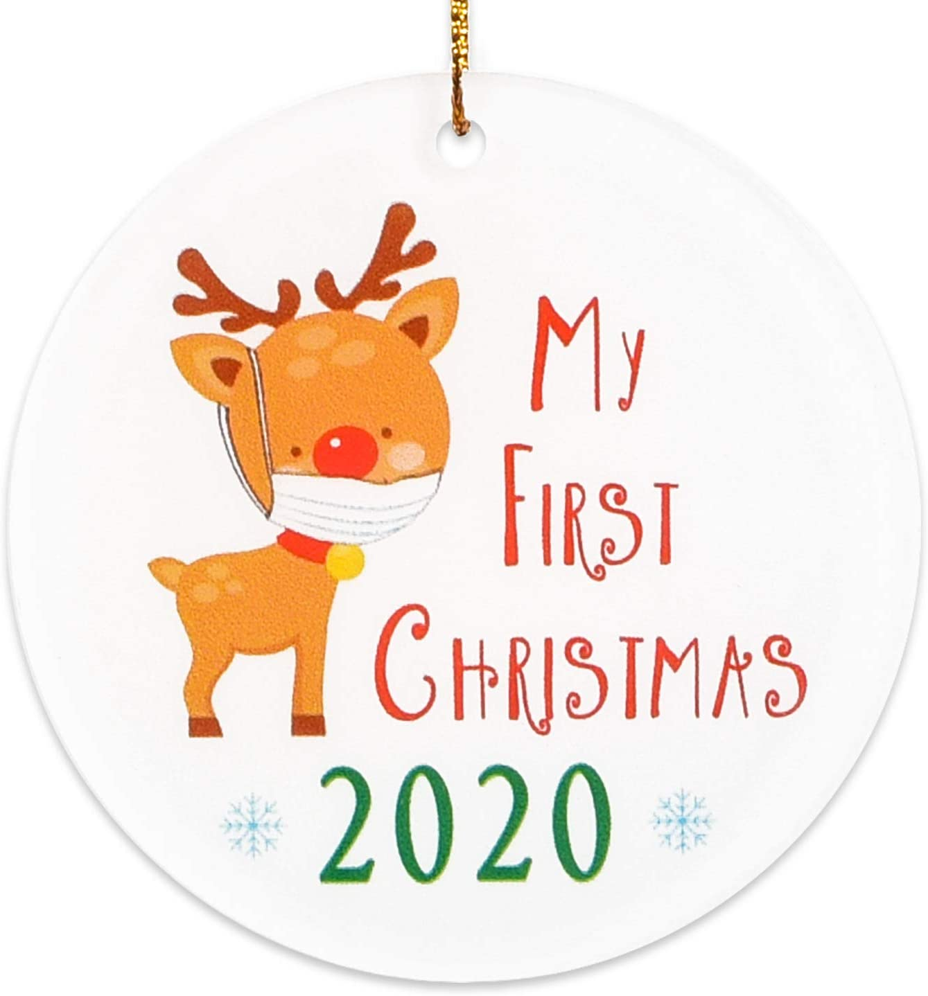 2020 Christmas Ornaments | My First Christmas | Reindeer with Mask Baby 1st Xmas Ornament New Parents Mom Dad Presents | Ceramic Holiday Decoration for Boy Girl