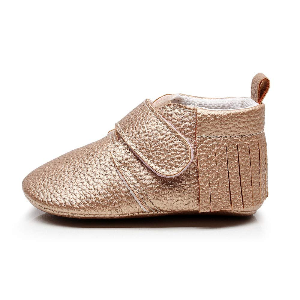 Lanhui Newborn Shoes Baby Girls Boys Cute Solid Tassel First Walkers Casual Shoes Gold