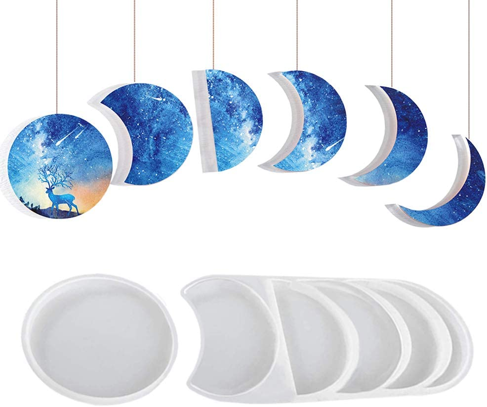 2 Pack Moon Phase Resin Molds, MOTASOM Epoxy Crescent Silicone Molds, Full Moon Starry Lunar Eclipse Mold for Resin Casting Crafts DIY, Making Decoration/Home Wall Hanging Decor (Blue)