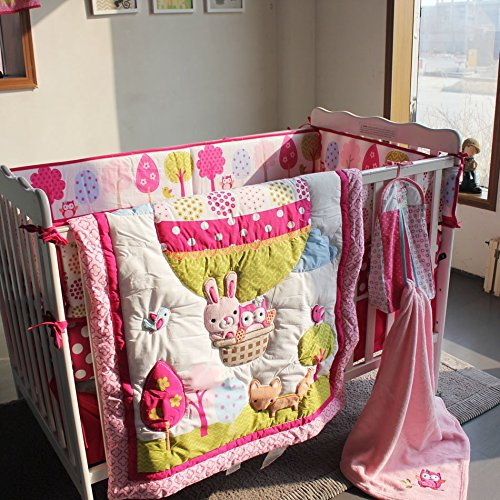NAUGHTYBOSS Girl Baby Bedding Set Cotton 3D Embroidery Hot Air Balloon Rabbit Fox Owl Quilt Bumper Bedskirt Fitted Blanket 8 Pieces Set Red