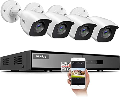 SANNCE 4CH Security Camera System HD 1080P Lite Video DVR Recorder with 4X HD 1920TVL 1080P Indoor Outdoor Weatherproof CCTV Cameras ,NO Hard Drive,Motion Alert, Smartphone, PC Easy Remote Access