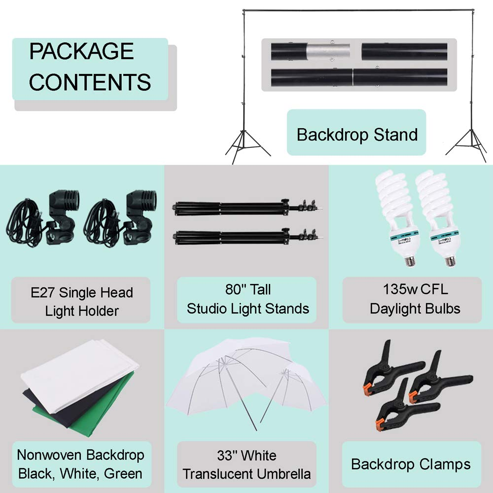Upland 33-Inch 2 Umbrella Lights with Backdrop System, for Photo Photography, Video Studio Lighting, 1 Backdrop Support Stand (6.6x6.6 Feet), 3 Backdrops (5.4x 10 Feet) by Upland (Image #5)