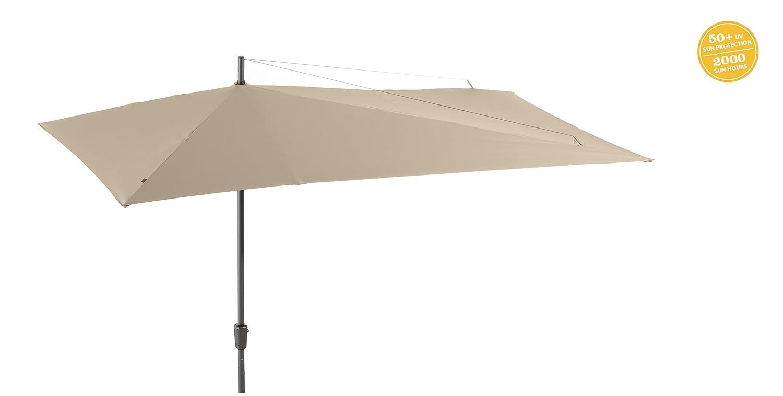 GRASEKAMP Qualität seit 1972 Sonnenschirm Asymmetrisch Balkon-Schirm 360x220cm Beige Terrasse Partyschirm