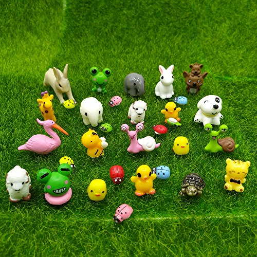 EMiEN 31 Pieces Mini Animals Miniature Ornament Kits Set,Snails,Koala,Tortoise,Flamingo,Honeybee,Rabits,Sheeps,Elephants,Frogs,Ducks etc Miniature Ornament for DIY Dollouse Fairy Garden Plant Décor