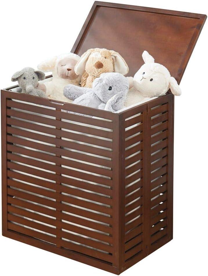 mDesign Organizador de ropa sucia de bamb/ú Cesta de ropa sucia con bolsa extra/íble Bolsa plegable port/átil para el cuarto de ba/ño o el dormitorio marr/ón oscuro