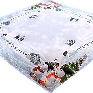 Tischläufer Mitteldecke Weihnachten Schneemänner Foto Druck weiß bunt 40x90 cm