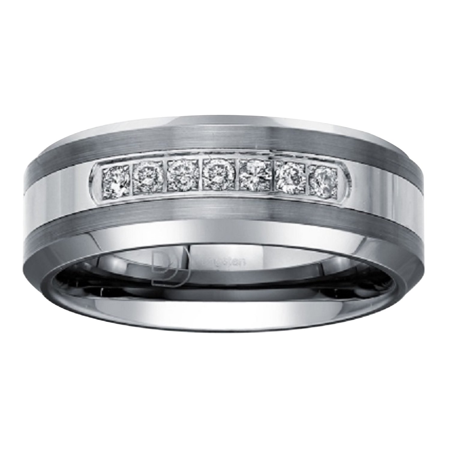 Tungsten Carbide Diamond Mens Wedding Band .20CTW (H-I I2) by AX Jewelry (Image #6)