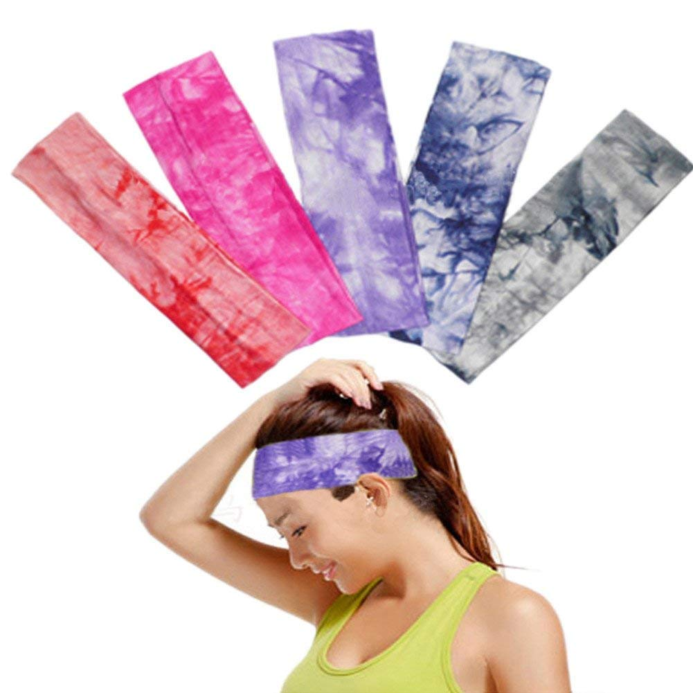 4 Pack Headbands Vintage Elastic Printed Head Wrap Stretchy Moisture Solid Color Cross Hairband for Women 23x8 cm