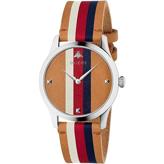 Gucci Hombre Reloj g-Timeless de Acero Inoxidable Correa de Cuero YA1264078: Amazon.es: Relojes