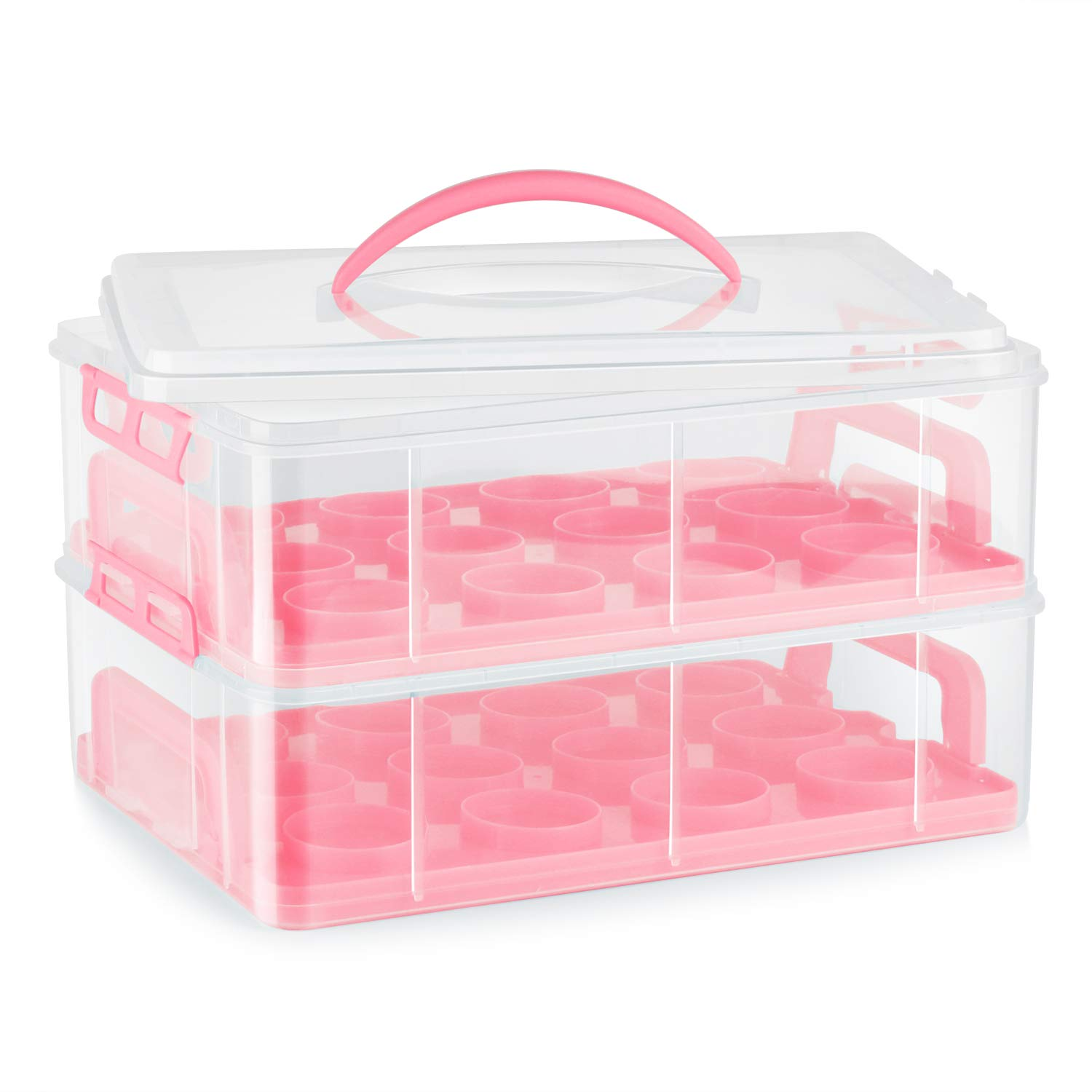 Flexzion Cupcake Carrier Holder Container Box (24 Slot, 2 Tier) - 24 Cupcakes Slot or 2 Large Cakes Pastry Clear Plastic Storage Basket Taker Courier with 2 Tier Stackable Layer Insert (Pink) by Flexzion
