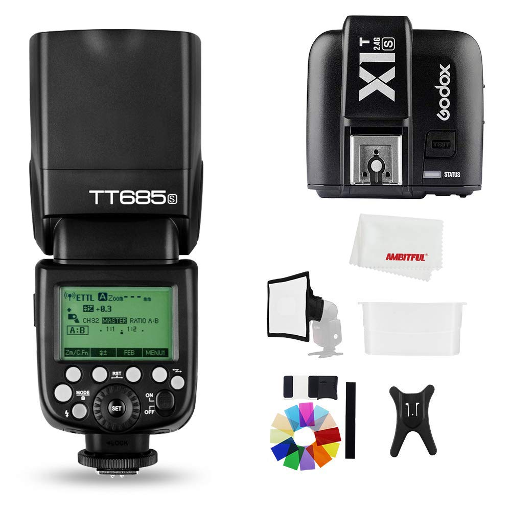 Godox TT685S 2.4G HSS 1/8000S TTL GN60 Flash Speedlite with X1T-S Trigger Transmitter Kit, Flash Diffuser 23 23cm Softbox and Flash Color Filters Compatible for Sony A58 A7RII A7II A99 A9 A7R A6300 by Godox