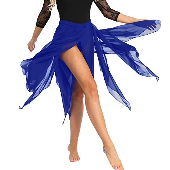 iiniim Falda de Danza Flamenco Falda Larga Irregular de Gasa para ...
