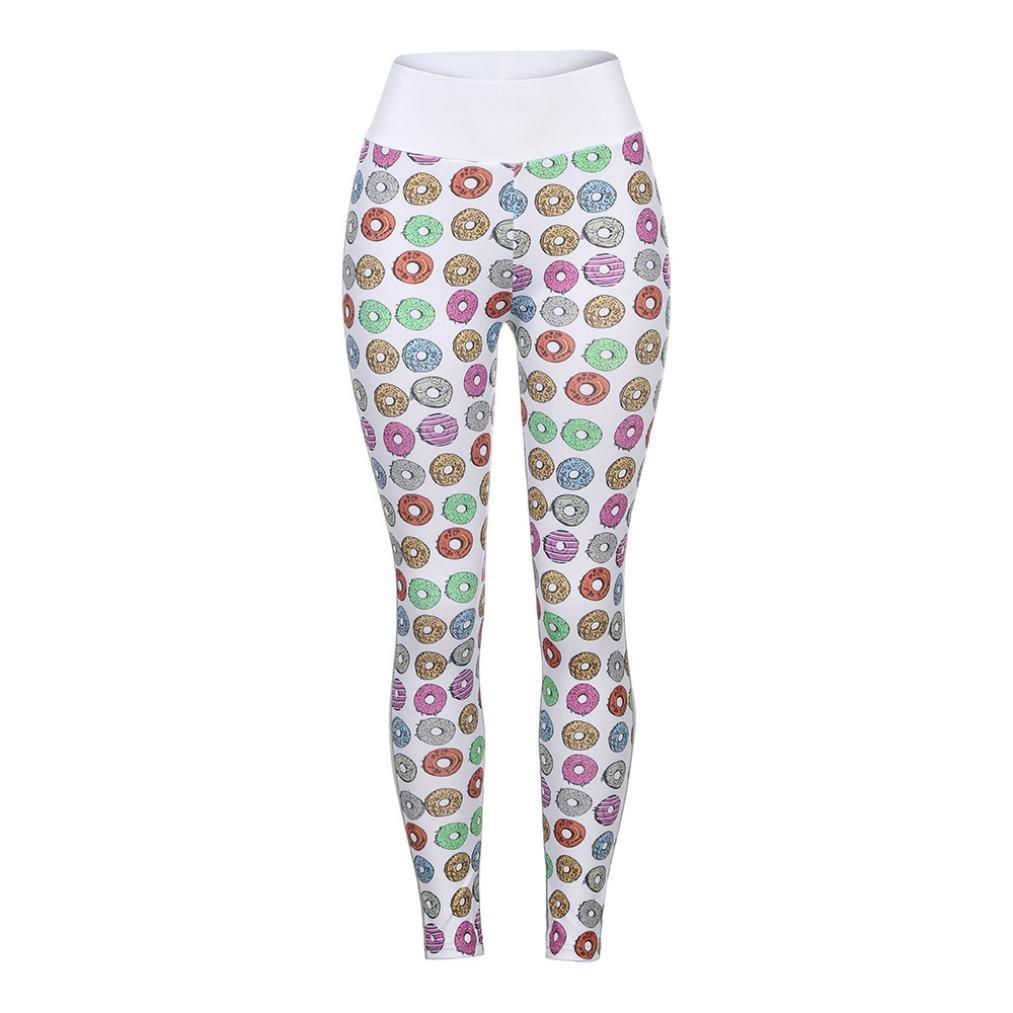 Longay Women Doughnut Prints Workout Leggings Push up Compression Yoga Pants at Amazon Womens Coats Shop