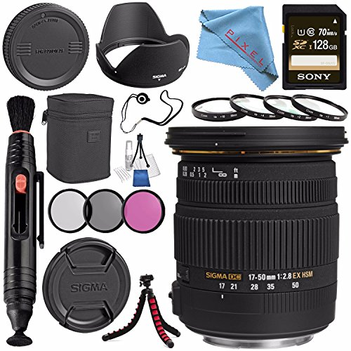 Sigma 17-50mm f/2.8 EX DC OS HSM Zoom Lens for Canon w/A{S-C Sensor #583101 + Sony 128GB SDXC Card + Lens Pen Cleaner + Fibercloth + Lens Capkeeper + Deluxe Cleaning Kit + Flexible Tripod Bundle